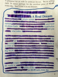A Real Dream Erasure Poem by Andrea Beltran
