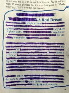 A Real Dream Erasure Poem by Andrea Beltran